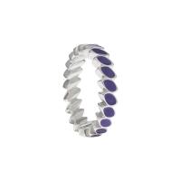 Pandora Silver & Purple Enamel Leaf Band Ring 190141EN02