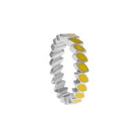 Pandora Silver & Yellow Enamel Leaf Band Ring 190141EN06