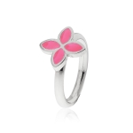 Pandora Silver & Pink Enamel Flower Ring 190142EN05