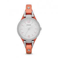 Fossil Georgia Cuff Ladies Silver & Coral Pink Watch ES3468