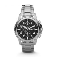 Fossil Dean Men's Silver & Black Chronograph Watch FS4542