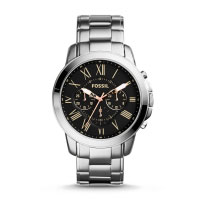 Fossil Grant Men's Silver & Black Chronograph Watch FS4994
