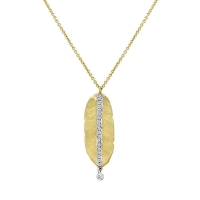 Meira T Hammered Yellow Gold Leaf Necklace 1n5883