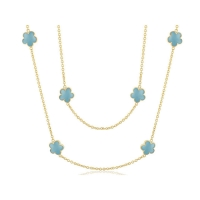 Lauren G Adams Gold and Enamel Daisy Love Necklace