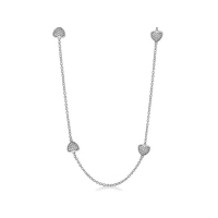 Lauren G Adams Silver Necklace with Pave Heart Charms