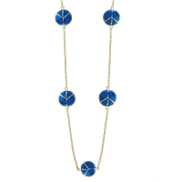Lauren G Adams Gold and Blue Enamel Peace Sign Necklace