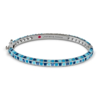 Lauren G Adams Silver and Blue Enamel Stackable Bangle