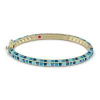 Lauren G Adams Gold and Blue Enamel Stackable Bangle