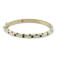 Lauren G Adams Gold, Black and White Enamel Stackable Bangle