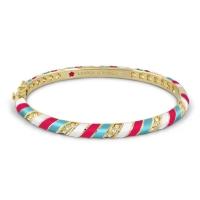 Lauren G Adams Gold and Hot Red Stripe Design Bangle