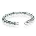 Zinzi Silver Pearl Beaded 19cm Bracelet