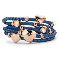 Claudine Blue Leather Bracelet with Rose Gold Plated Hearts