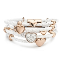 Claudine White Hearts and Rings Leather Bracelet