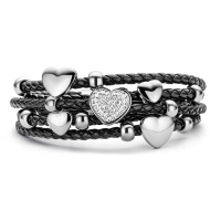Claudine Black Hearts Rings Leather Bracelet