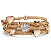 Claudine Brown Leather Bracelet CZ & Rose Gold Plated Hearts