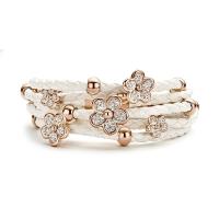 Claudine White Stones Leather Bracelet
