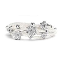Claudine White Leather Bracelet Silver Tone & CZ Flowers