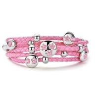Claudine Pink Stones Leather Bracelet