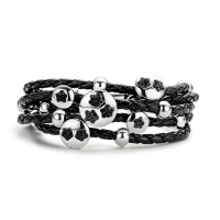 Claudine Black Flower Leather Bracelet