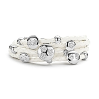 Claudine CZ Flower White Leather Bracelet