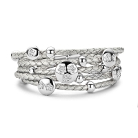 Claudine CZ Flower Silver Leather Bracelet