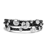 Claudine Silver Flower Black Leather Bracelet