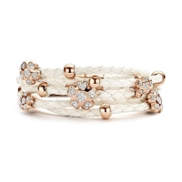 Claudine CZ Flower White and Rose Gold Plated Leather Bracelet