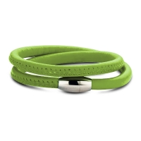 Claudine Green Leather Wrap Bracelet