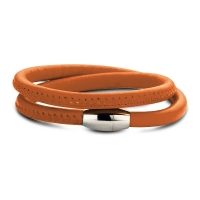 Claudine Orange Leather Style Wrap Bracelet