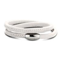 Claudine White Leather Wrap Bracelet