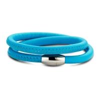 Claudine Yale Blue Leather Wrap Bracelet