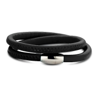 Claudine Black Leather Wrap Bracelet