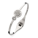 Claudine Silver Tone Round Daisy Bangle