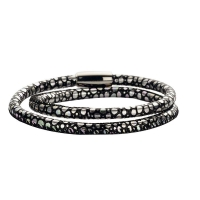 Claudine Black and Multicoloured Leather Style Bracelet
