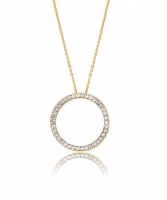 Kaytie Wu Gold Plated Circle Necklace With Swarovski Crystals