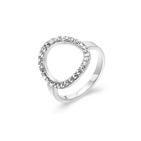 Kaytie Wu Silver Plated Circle Ring With Swarovski Crystals