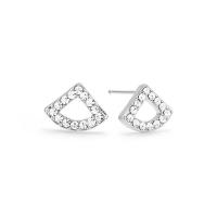 Kaytie Wu Silver Plated Fan Earrings With Swarovski Crystals