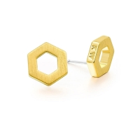 Kaytie Wu Gold Plated Hexagon Earrings