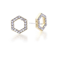 Kaytie Wu Gold Plated Hexagon Earrings with Swarovski Crystals