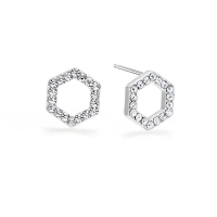 Kaytie Wu Silver Plated Hexagon Earrings With Swarovski Crystals