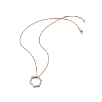 Kaytie Wu Rose Gold Plated Hexagon Necklace With Swarovski Crystals