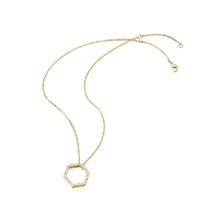 Kaytie Wu Gold Plated Hexagon Necklace With Swarovski Crystals