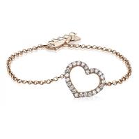 Zinzi Rose Gold Plated Heart Bracelet