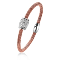 Zinzi Ridge Rose Gold Plated Bangle With White Zirconia Bead