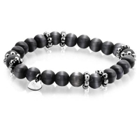 Zinzi Black Cats Eye Beaded Bracelet