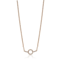 Zinzi Rose Gold Plated CZ With Circle Necklace