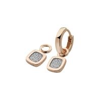 Zinzi Rose Gold Plated Earring Pendants With White Zirconias