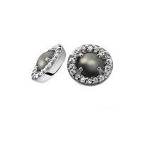 Zinzi Silver Earrings With Dark Grey Pearl