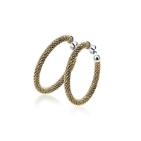 Zinzi Gold Plated Silver Textured Hoop Earrings