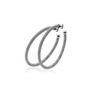 Zinzi Large Oxidised Silver Textured Hoop Earrings